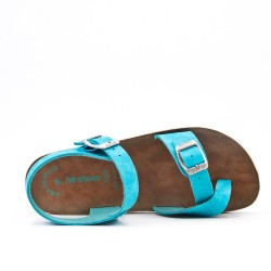Blue comfort sandal with buckled straps