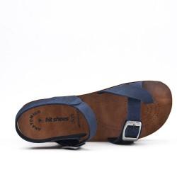Sandalia marino de confort con tiras abrochadas