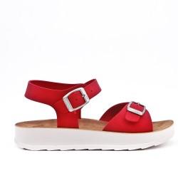 Sandalia rojo de confort con tiras abrochadas