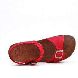 Red comfort sandal with buckled straps