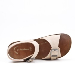 Beige comfort sandal with buckled straps