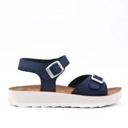 Sandale confort marine à brides bouclées