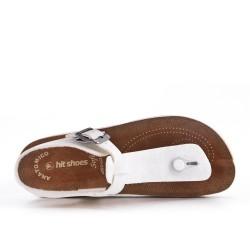 Tanga de sandalia blanco con tiras abrochadas