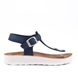 Tanga de sandalia marina con tiras abrochadas