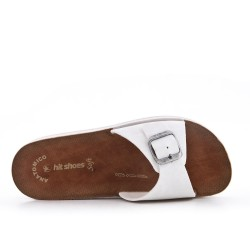 White faux leather slider