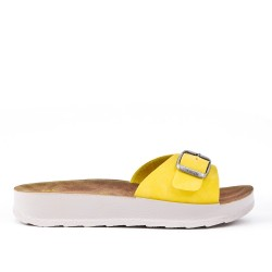 Yellow faux leather slider
