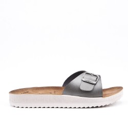 Gray faux leather slider
