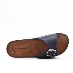 Blue faux leather slider