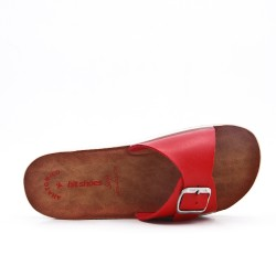 Red faux leather slider