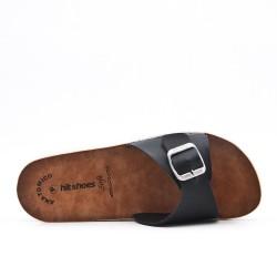 Black faux leather slider