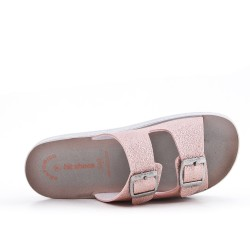 Pink comfort mule with buckled bridles