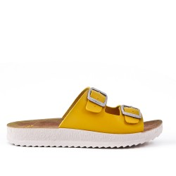 Yellow comfort mule with buckled bridles