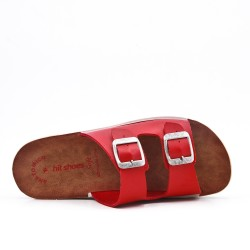 Red comfort mule with buckled bridles