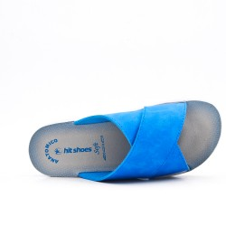 Blue comfort slider in faux leather
