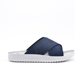 Navy comfort slider in faux leather