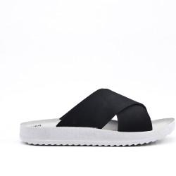 Black comfort slider in faux leather