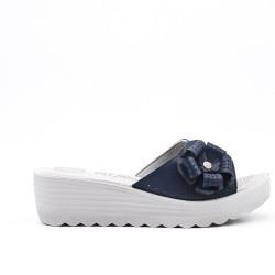 Navy mule sandal with wedge heel