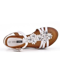 Sandale compensée blanche à fleurs