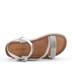 Sandale compensée argent à semelle ornée de strass
