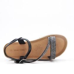 Sandale compensée noire à semelle ornée de strass