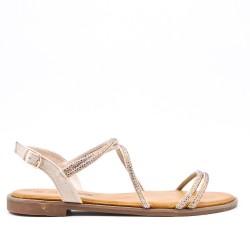 Sandale beige en simili daim à strass