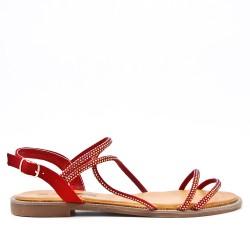 Sandale rouge en simili daim à strass