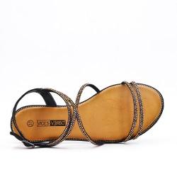 Sandale noire en simili daim à strass