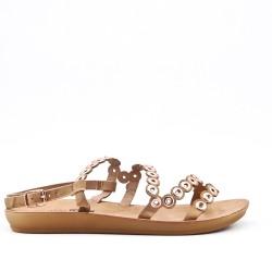 Sandalia confort beige en piel sintética