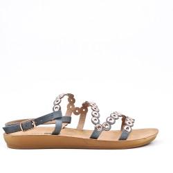 Sandalia confort gris en piel sintética