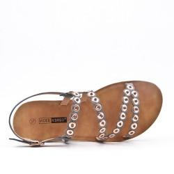 Sandale confort grise en simili cuir