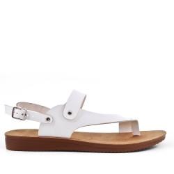Sandalia confort blanco en piel sintética