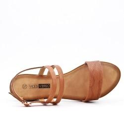 Sandale confort camel en simili cuir à petit talon