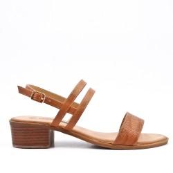 Grande taille - Sandale confort camel en simili cuir à petit talon