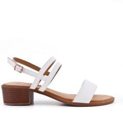Talla grande -Sandalia blanco de confort en piel sintética con tacón pequeño