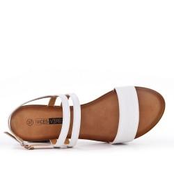 Talla grande - Sandalia blanco de confort en piel sintética con tacón pequeño