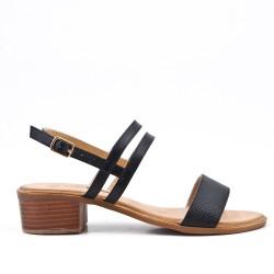 Grande taille - Sandale confort noire en simili cuir à petit talon