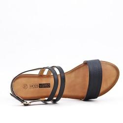 Talla grande - Sandalia negra de confort en piel sintética con tacón pequeño
