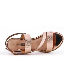 Grande taille - Sandale confort champagne en simili cuir à petit talon