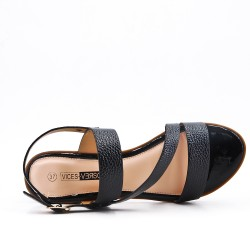 Talla grande -Sandalia negra de confort en piel sintética con tacón pequeño
