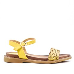 Sandale plate jaune en simili cuir