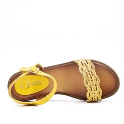 Yellow flat sandal in faux leather