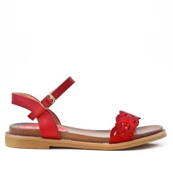 Red flat sandal in faux leather
