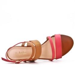 Sandale bicolore en simili cuir à talon