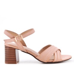 Beige sandal in faux suede with heel