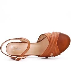 Sandale camel en simili cuir à talon