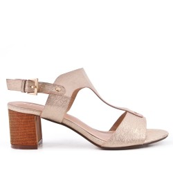 Champagne faux leather sandal with heel