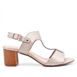 Sandale dorée en simili cuir texturé à talon
