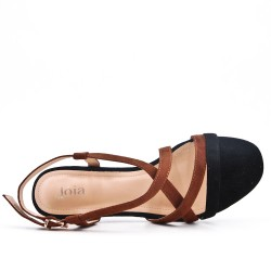 Sandale bicolore en simili daim