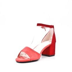 Disponible en 4 couleurs- Sandale en simili daim à talon
