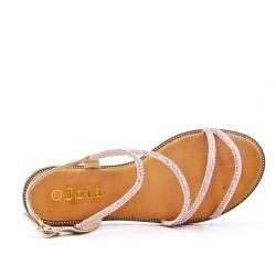 Golden flat sandal with rhinestones